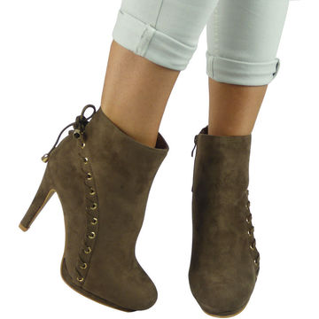 Botine stiletto cu siret decorativ khaki